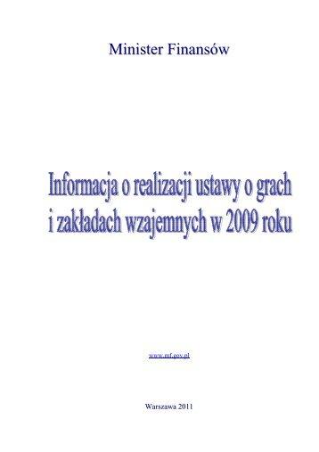 Informacja o realizacji ustawy o grach i zakładach wzajemnych w ...