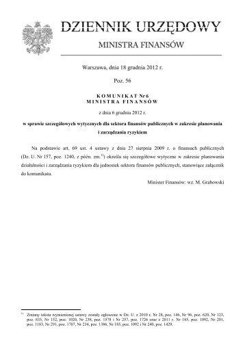 Warszawa, dnia 18 grudnia 2012 r. Poz. 56 - Ministerstwo Finansów