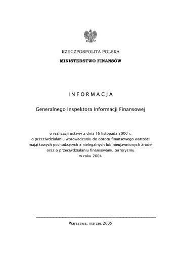 Sprawozdanie z realizacji ustawy w 2004 r. - Ministerstwo Finansów