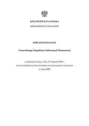 Sprawozdanie z realizacji ustawy w 2009 r. - Ministerstwo Finansów