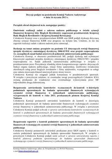 Decyzje podjęte na 1 posiedzeniu Komisji Nadzoru Audytowego w ...