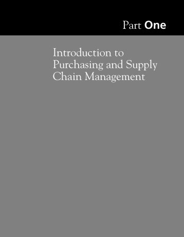 Part One Introduction to Purchasing and Supply Chain Management