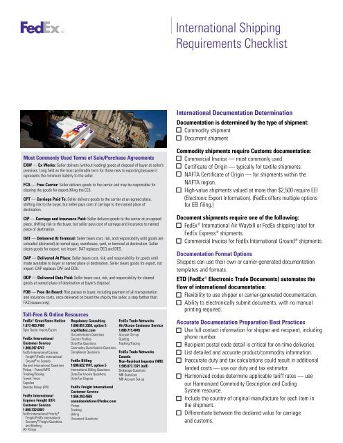 International Shipping Requirements Checklist PDF - FedEx