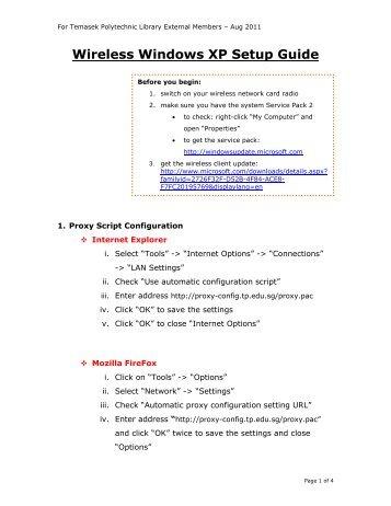 Wireless Windows XP Setup Guide - Library - Temasek Polytechnic