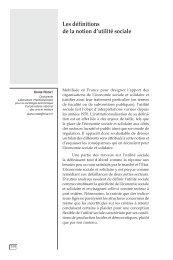 Les définitions de la notion d'utilité sociale - CIRIEC