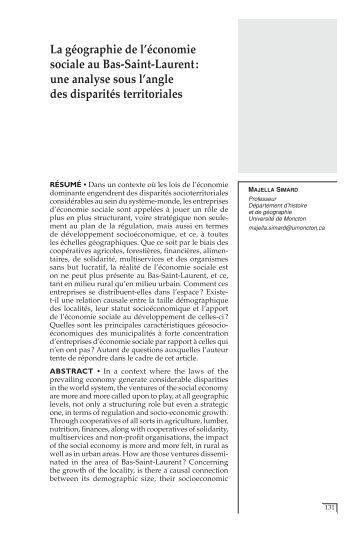 La géographie de l'économie sociale au Bas-Saint-Laurent ... - CIRIEC