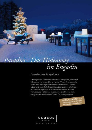 Paradies – Das Hideaway im Engadin - Globus Reisen
