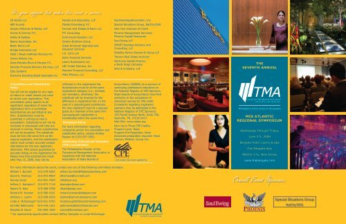 Overall Event Sponsors: - Turnaround Management Association