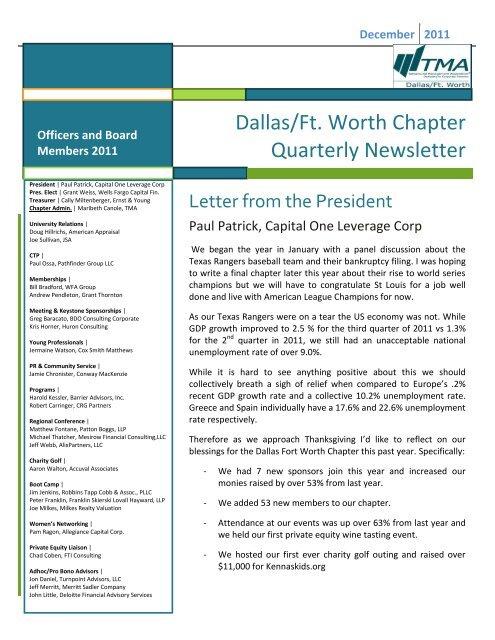Dallas/Ft. Worth Chapter Quarterly Newsletter - Turnaround ...