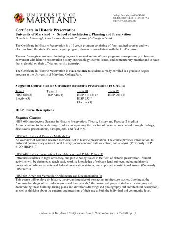 Certificate Course Plan and Application - University of Maryland ...