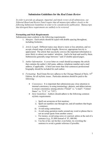 Submission Guidelines for the Real Estate Review