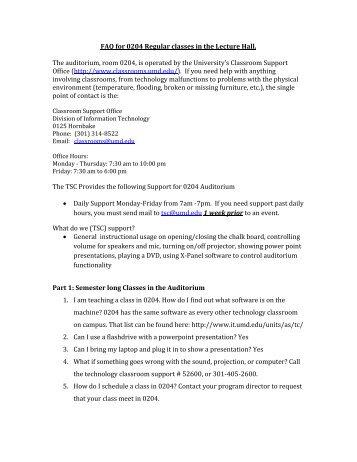 Auditorium 0204 Support FAQs