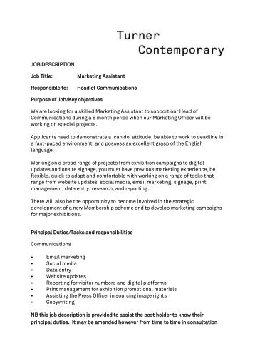 marketing assistant job vacancy turner contemporary