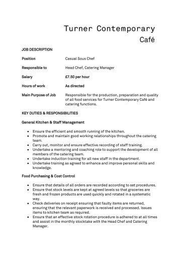 JOB DESCRIPTION Position Chef De Partie Responsible to Sous ...