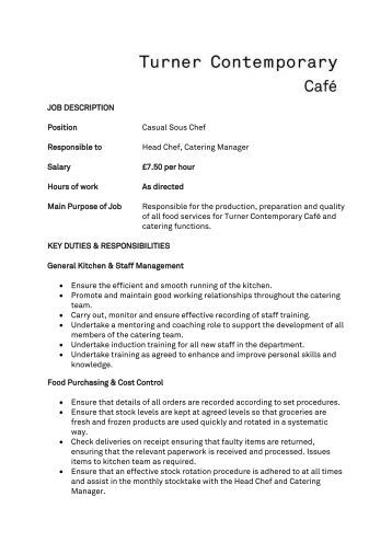 job description position casual sous chef responsible to duties of a chef
