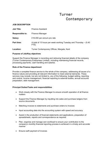 Financial Manager Job Description Finance Manager Job Description