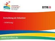 Ausführliche Anleitung zur Anmeldung als Volunteer - Das ist Turnfest