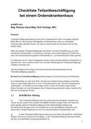 Teilzeit - Checkliste Orden 2007