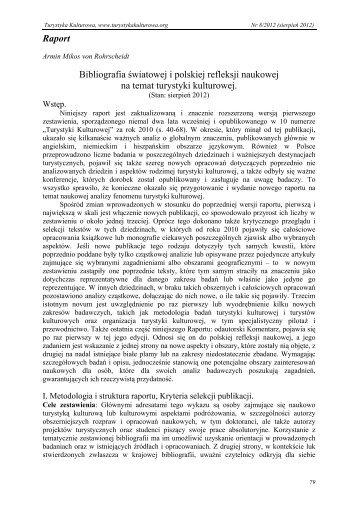 Bibliografia światowej i polskiej refleksji naukowej na temat turystyki ...