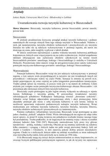Uwarunkowania rozwoju turystyki kulturowej w Bieszczadach