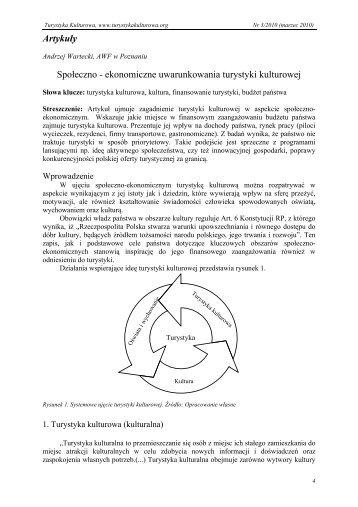 ekonomiczne uwarunkowania turystyki kulturowej - Turystyka ...