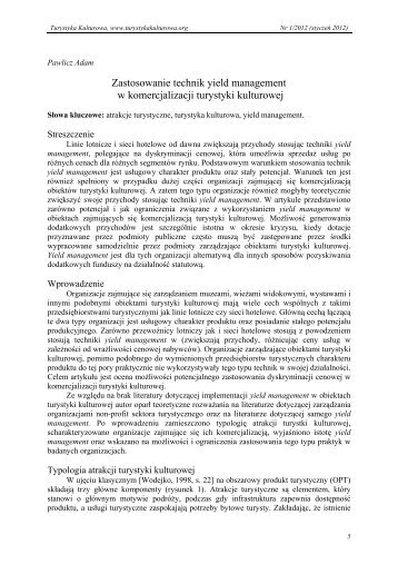 Zastosowanie technik yield management w komercjalizacji turystyki ...