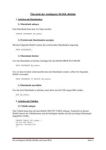 Übersicht der wichtigsten MySQL-Befehle
