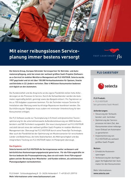 Mit einer reibungslosen Serviceplanung immer bestens versorgt - FLS CASE STUDIES | SELECTA