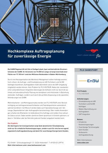 Hochkomplexe Auftragsplanung für zuverlässige Energie - FLS CASE STUDIES   ENBW