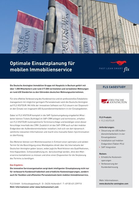 Optimale Einsatzplanung für ­mobilen Immobilienservice - FLS CASE STUDIES | DEUTSCHE ANNINGTON