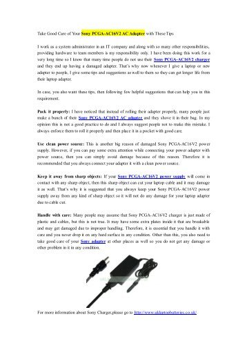Take Good Care of Your Sony PCGA-AC16V2 AC Adapter with These Tips.pdf
