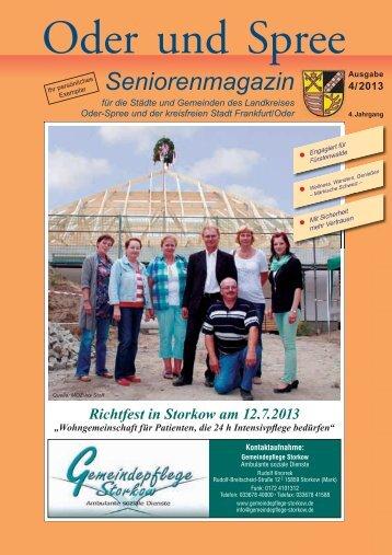Seniorenmagazin Oder und Spree - 4. Ausgabe 2013