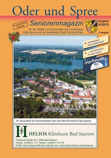Seniorenmagazin Oder und Spree - 5. Ausgabe 2013