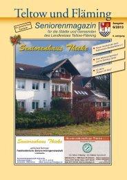 Seniorenmagazin Teltow und Fläming - 6. Ausgabe 2013