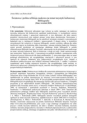 Światowa i polska refleksja naukowa na temat turystyki kulturowej ...