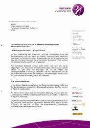 Liebe Projektpartner des FSJ im Sport in NRW, auf die Novellierung ...