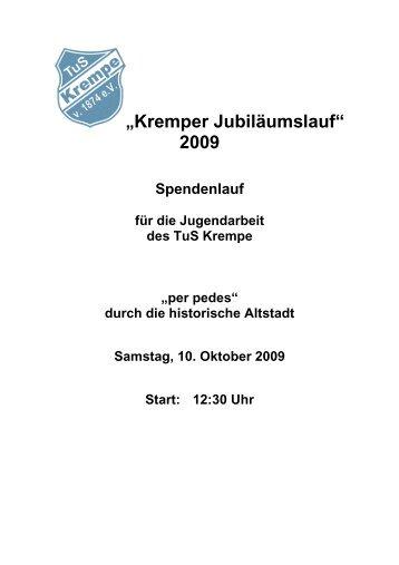 """Kremper Jubiläumslauf"" 2009 - TUS- Krempe"