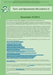 Turn- und Sportverein 08 Lintorf e.V. Newsletter 01/2013
