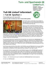 Pressemitteilung vom 28. Januar 2013 > TuS 08 - TUS 08 Lintorf e.V.