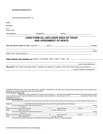Deed Of Trust With Assignment Of Rents  Chicago Title Connection