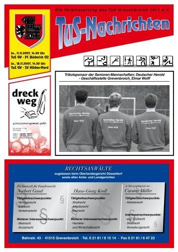 Die Vereinszeitung des TuS Grevenbroich 1911 e.V. Trikotsponsor ...