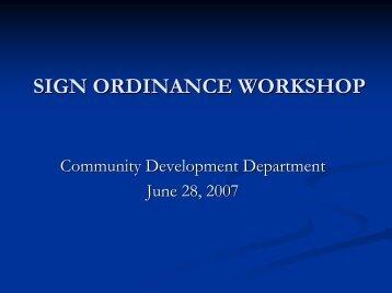 sign ordinance workshop - City of Tustin