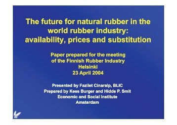 Th ftftl bb i th Th ftftl bb i th The future for natural rubber in the world ...
