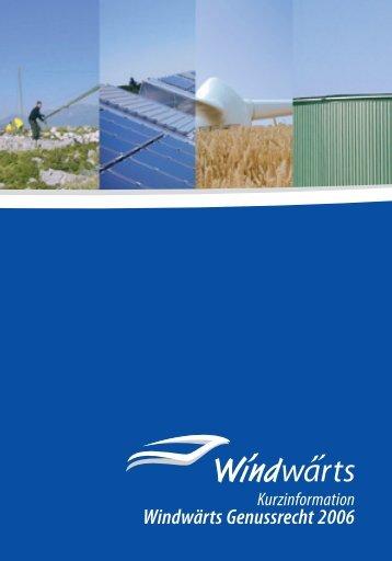 Kurzinformation Windwärts Genussrecht 2006