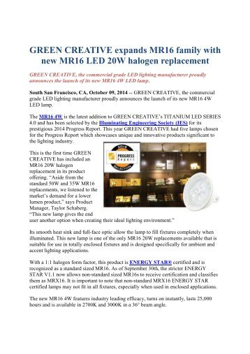 GREEN CREATIVE expands MR16 family with new MR16 LED 20W halogen replacement