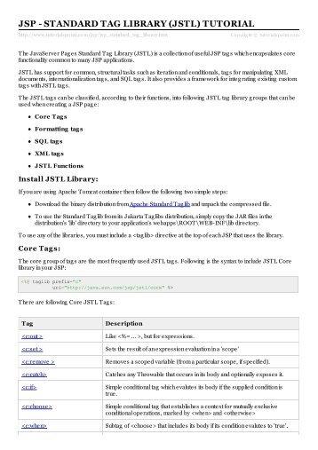 JSP - Standard Tag Library (JSTL) Tutorial - Tutorials Point
