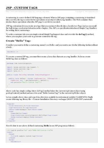 JSP - Custom Tags - Tutorials Point