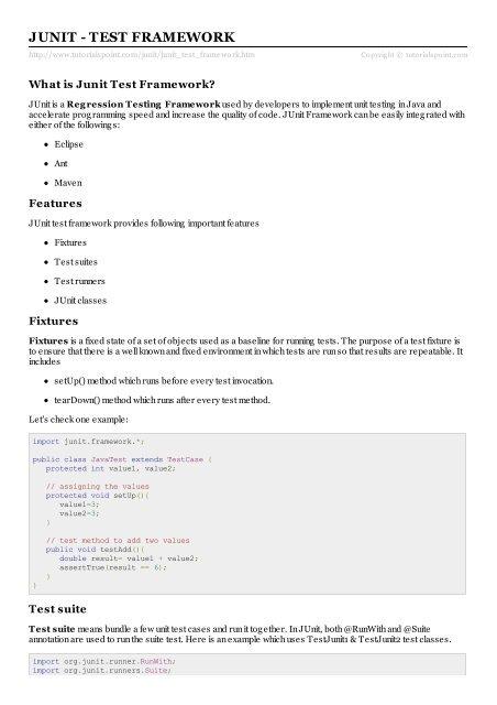 JUnit Test Framework - Tutorials Point