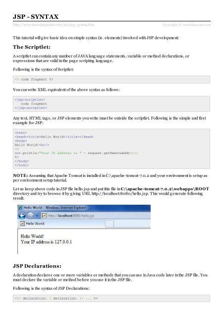 JSP - Syntax - Tutorials Point
