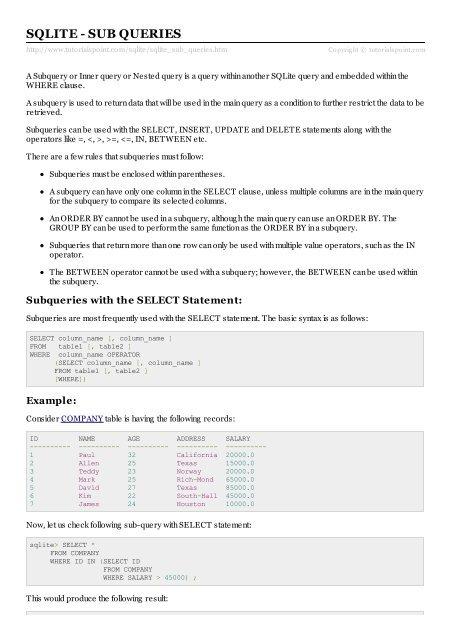 SQLite - Sub Queries - Tutorials Point